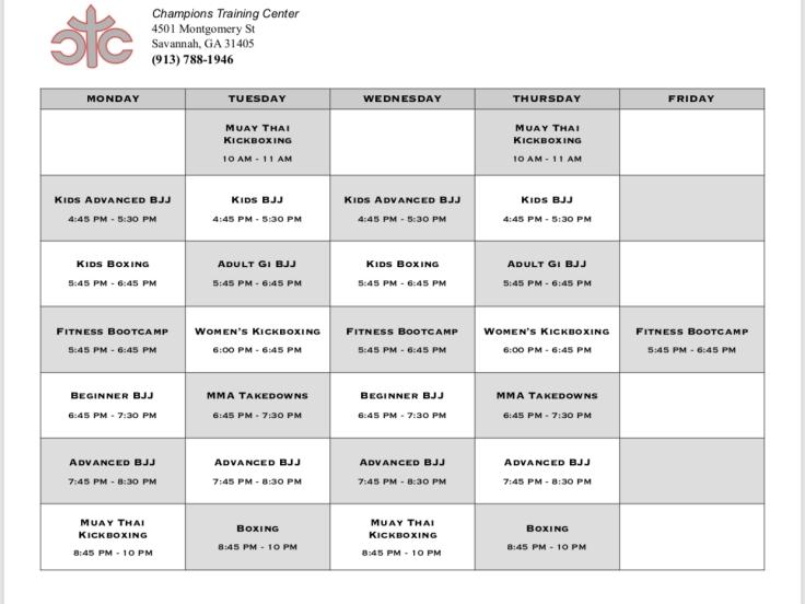 CTC Class Schedule